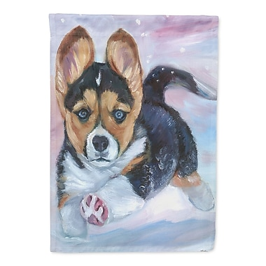 Caroline's Treasures Puppy Chase Corgi 2-Sided Garden Flag