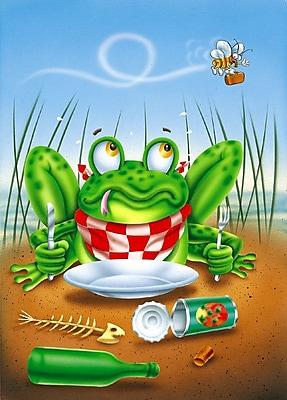 Caroline's Treasures Frog Happy Plate 2-Sided Garden Flag