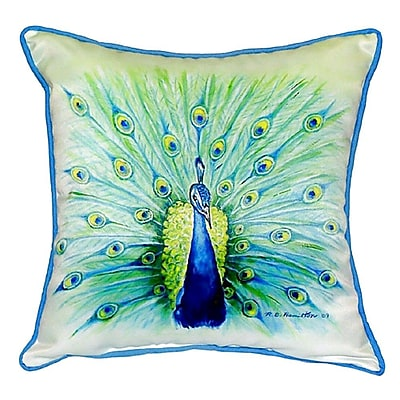 Betsy Drake Interiors Peacock Indoor/Outdoor Throw Pillow; Small