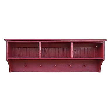 SawdustCity Storage Shelf w/ Cubbies and Pegs; Old Red
