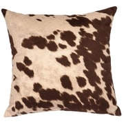 Wooded River Faux Hair on Hide Throw Pillow; Udder Brown