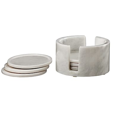 Designs By Marble Crafters Dionysus 7 Piece Coaster Set; Pearl White Marble