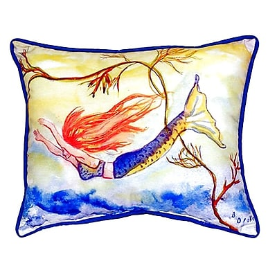 Betsy Drake Interiors Diving Mermaid Indoor/Outdoor Lumbar Pillow; Large