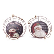 Glitzhome 2 Piece Iron/Wire Decal Santa and Snowman Basket
