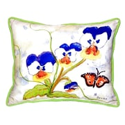Betsy Drake Interiors Pansies Indoor/Outdoor Lumbar Pillow; Large