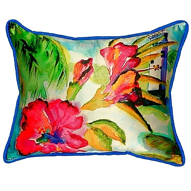 Betsy Drake Interiors Lighthouse and Florals Indoor/Outdoor Lumbar Pillow; Large