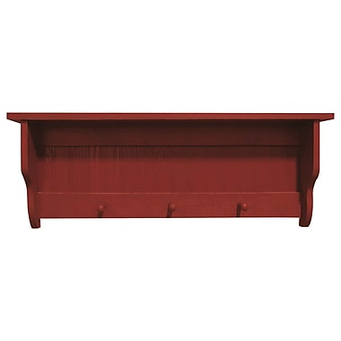 SawdustCity Pine Shelf w/ Pegs; Old Red