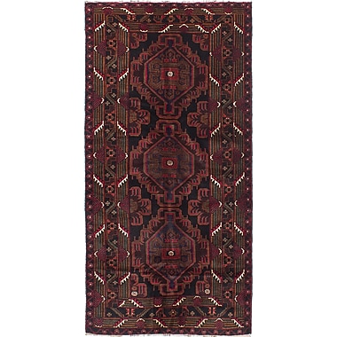 ECARPETGALLERY Rizbaft Hand-Knotted Black/Red Area Rug