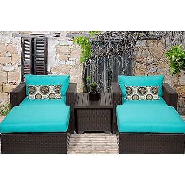 TK Classics Belle 5 Piece Seating Group w/ Cushion; Navy