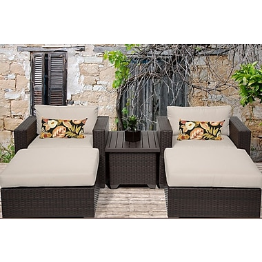 TK Classics Belle 5 Piece Seating Group w/ Cushion; Beige