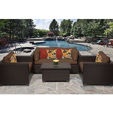 TK Classics Belle 5 Piece Deep Seating Group w/ Cushion; Cocoa