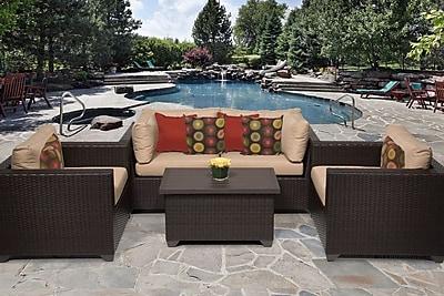 TK Classics Belle 5 Piece Sofa Set w/ Cushions; Wheat