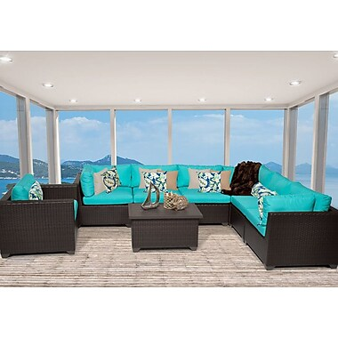 TK Classics Belle 8 Piece Sectional Seating Group w/ Cushion; Aruba