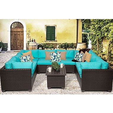 TK Classics Belle 9 Piece Sectional Seating Group w/ Cushion; Aruba