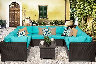 TK Classics Belle 9 Piece Sectional Set w/ Cushions; Aruba