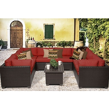 TK Classics Belle 9 Piece Sectional Seating Group w/ Cushion; Terracotta