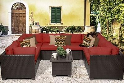 TK Classics Belle 9 Piece Sectional Set w/ Cushions; Terracotta