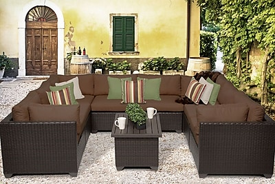 TK Classics Belle 9 Piece Sectional Set w/ Cushions; Cocoa