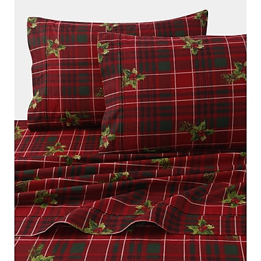Tribeca Living Vintage Plaid Print 4 Piece 100pct Cotton Sheet Set; Twin