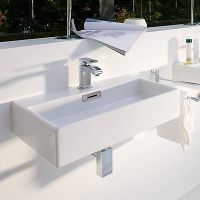 WS Bath Collections Quarelo Ceramic 20'' Wall Mount Bathroom Sink w/ Overflow; One Hole