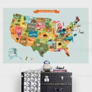 SimpleShapes USA Map Poster Wall Decal; Medium