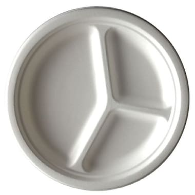 Eco Guardian Compostable Bagasse 3-Compartment Plates, 10
