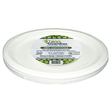 Eco Guardian – Assiettes ovales en bagasse compostable, emballage de vente au détail, 12,5 po, paq./240 (EG-N-A030-S20)