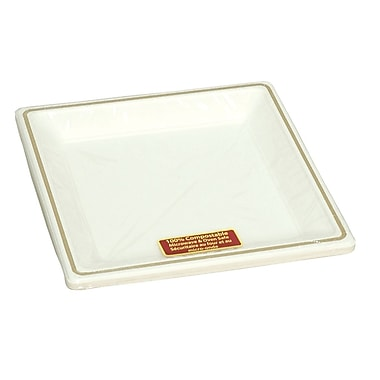 Eco Guardian Compostable Printed Rim Square Plates, Retail Packaging, 9