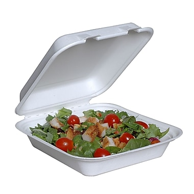 Eco Guardian – Contenants double coque en bagasse compostable, 8 x 8 x 3 (po), paq./200 (EG-N-C026-R1)