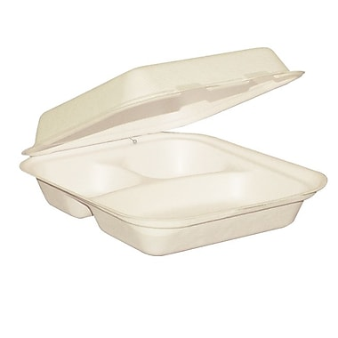Eco Guardian Compostable Bagasse 3-Compartment Clamshells, 8