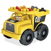 Mega Bloks Cat Dump Truck, Moveable Bin that Tilts Back to Dump Out Blocks, Includes 1 Worker Figurine and 25 Blocks