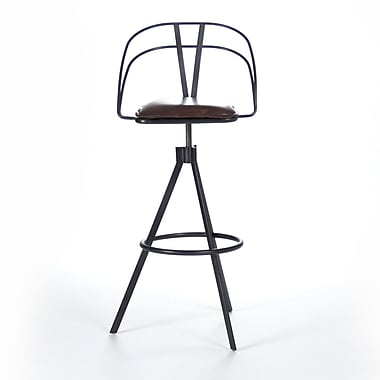 Zentique Inc. Nathan Adjustable Height Bar Stool w/ Cushion