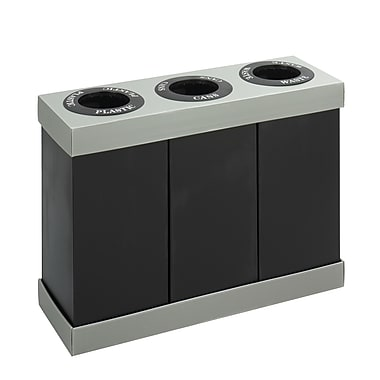Safco® At-Your-Disposal Economy Recycling Triple Bin, Black Lightweight Corrugated Plastic