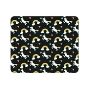 OTM Prints Black Mouse Pad, Unicorn & Rainbows
