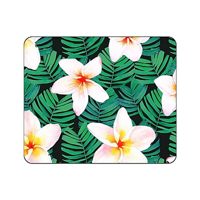 OTM Prints Black Mouse Pad, Plumerias White and Green