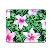 OTM Prints Black Mouse Pad, Plumerias Purple and Green
