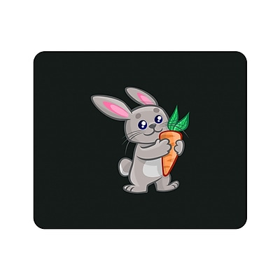 OTM Prints Black Mouse Pad, Junior Rabbit