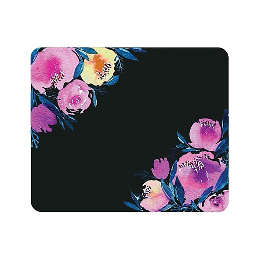 OTM Prints Black Mouse Pad, Corner Peonies Purple
