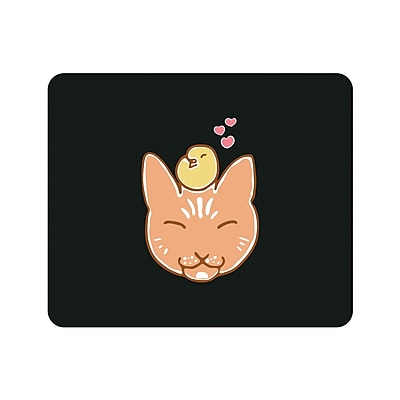 OTM Prints Black Mouse Pad, Kitty & Bird