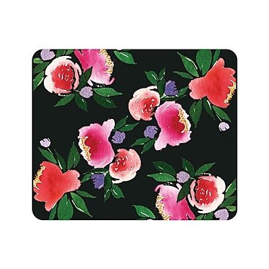 OTM Prints Black Mouse Pad, Bountiful Peonies Red & Green