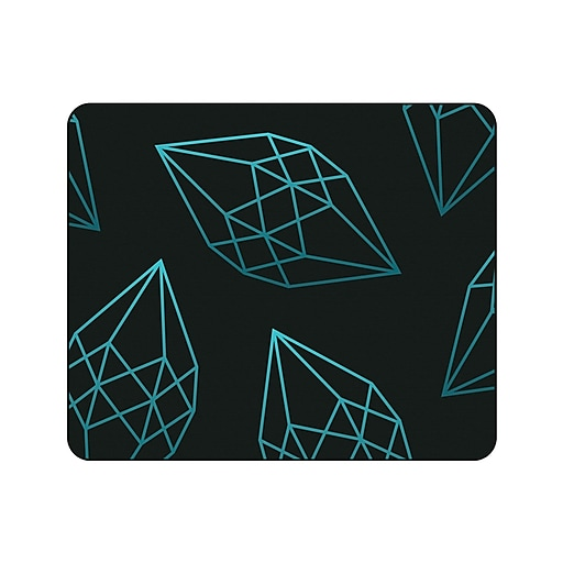 OTM Prints Black Mouse Pad, Diamonds Green
