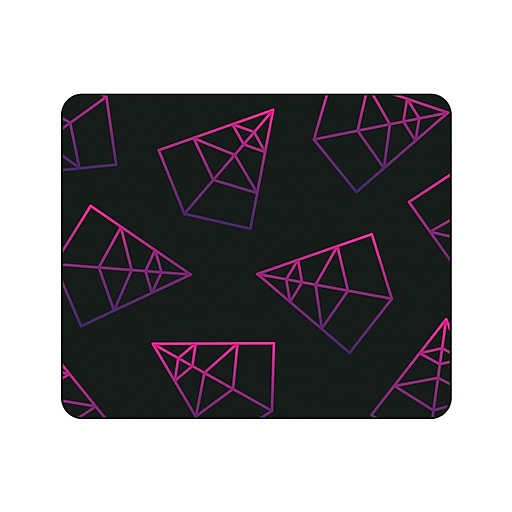 OTM Prints Black Mouse Pad, Pyramids Pink & Purple
