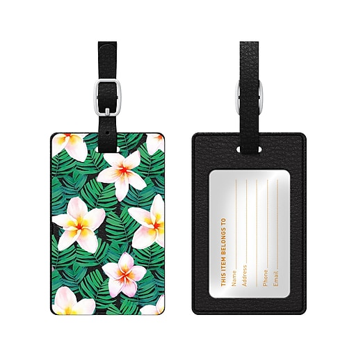 OTM Black Leather Bag Tag, Plumerias White and Green