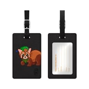 OTM Black Leather Bag Tag, Junior Scout Racoon
