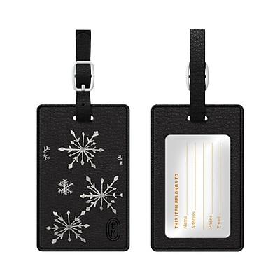 OTM Black Leather Bag Tag, Snowfall
