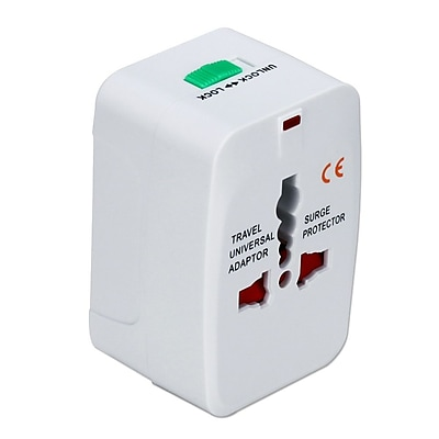 QVS® Premium World Power Travel Adapter Kit with Surge Protection, White (PA-C3WH)