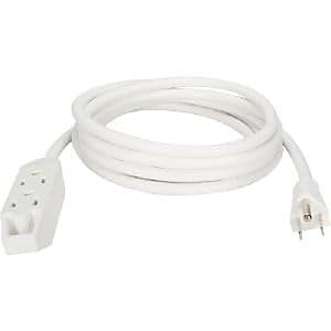 QVS® 25' 3 Outlet 3-Prong Power Extension Cord, White (PC3PX-25WH)