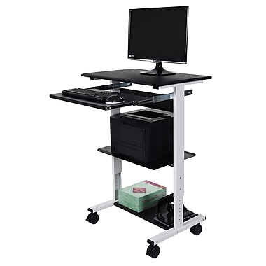 Luxor (STAND-WS30) Three-Shelf Adjustable Stand Up Workstation, Black/White