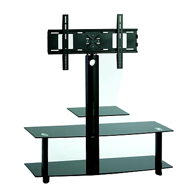 TygerClaw 3 Layers TV Stand With 3 Black Glasses(1 Small Layer + 2 Wide Layers) (LCD8401BLK)