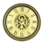 Cole & Grey Oversized Metal 24'' Wall Clock; Gold